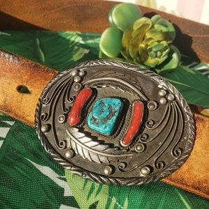 Other - Eugene Belone Buckle Turquoise Coral Stone Belt